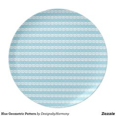 Blue Geometric Pattern Melamine Plate #Ad