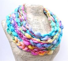 Rock Candy Scarf Boho Luxe Soft Pastel Rainbow by AudreyKnitted