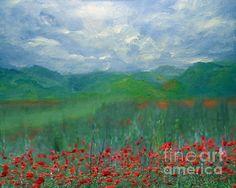 Poppy Meadows Painting - Poppy Meadows Fine Art Print - Zeana Romanovna