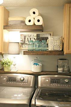 Diy Crafts Ideas : Boring laundry room?  No longer!  DIY some fabulous floating shelves!