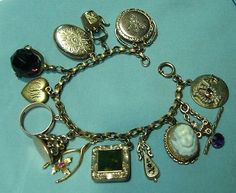 Antique Victorian Gold Filled 10K 14K Charm Bracelet Cameo Locket Fob Teapot