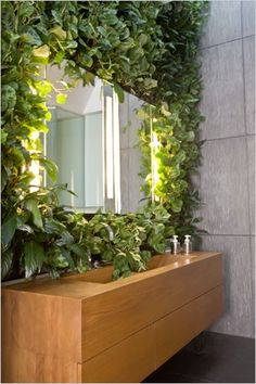 Nature Meets Architecture - Peace lily, peperomia and prayer plant climb above the master bath's teak vanity. The side wall and floor are made of lavastone, in contrasting finishes, from CoveringsEtc on Spring Street. The plant originally chosen for the wall, euonymus, had tiny leaves that would fall into the sink and get stuck in the drain.