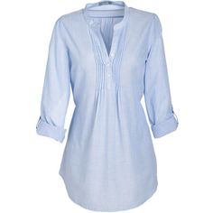 Chambray Elena Blouse ($20) ❤ liked on Polyvore featuring tops, blouses, shirts, blue, shirts & blouses, roll sleeve shirt, roll top, pintuck shirt, chambray shirts and sleeve shirt