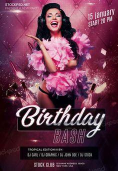 Black And Gold Birthday Party  Photoshop Psd Birthday Flyer
