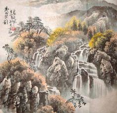 chinese waterfalls | Chinese Waterfall Painting 1148006, 66cm x 66cm(26〃 x 26〃)