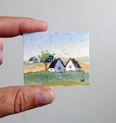 Original Miniature Watercolor Landscape Painting Small White Houses Trees Blue Sky By Artist Ilse Hviid Dolls House Picture Original Miniature Watercolor Landscape Painting Small White House Trees Blue Sky Artist Ilse Hviid Tiny Aquarelle Dolls House Pic Watercolor Cards, Watercolor Print, Watercolor Pictures, Mini Toile, Watercolor Landscape Paintings, Sketch Painting, Mini Paintings, Cool Landscapes, House Painting