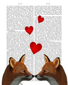 Foxes in Love on Vintage Dictionary Page