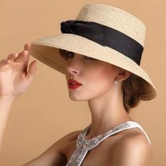 ad81a62528c Bow straw sun hat for women summer wear wide brim style  HatsForWomenDerby  Summer Hats For