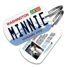 Washington License Plate Pet Tag - Dog Tags for Dogs, Dog Id Tags, Custom Pet Tags, Dog Name Tags, Personalized Pet Id Tags, Cat Id Tags -- Click image to review more details.