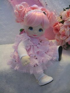My Child doll.My sister had the crib, clothes, and play d The lady who bought this doll wanted a pink rose fairy.Kuklonok - ca un copil. Pretty Dolls, Cute Dolls, Beautiful Dolls, Tiny Dolls, Soft Dolls, My Child Doll, Flower Fairies, Waldorf Dolls, Doll Crafts