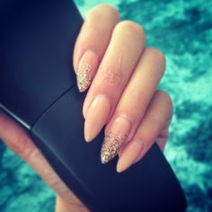 Nude shellac rose gold glitter stiletto on real nails