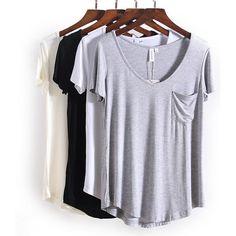 V Neck Short Sleeve Loose Bottom T Shirts