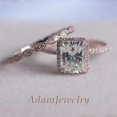 Moissanite Wedding Ring Set In 6x8mm Emerald Cut Solid 14k Rose Gold Engagement