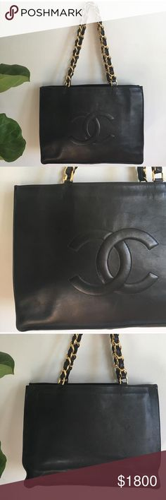 CHANEL lamb skin tote, 24k chain handles CHANEL tote || 16 w x 12 h x 4.5 d || Chains plated in 24k gold || small inner pocket with zipper || Amazing condition || tiny spot on interior lining where leather was repaired, other than this there is no signs of any scratches or damage. CHANEL Bags Totes
