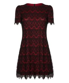 Look at this Burgundy Scalloped Lace A-Line Dress on #zulily today!