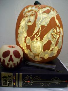 Snow White Evil Queen/Hag carved pumpkin and base with apple