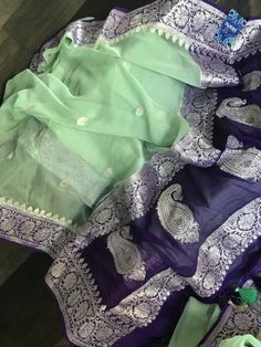 Georgette Silk Banarasi - Mint Green Purple Silver Zari – Panache-The Desi Creations Cotton Saree Designs, Half Saree Designs, Saree Blouse Neck Designs, Fancy Blouse Designs, Saree Blouse Patterns, Chiffon Saree Party Wear, Silk Saree Kanchipuram, Saree Trends, Stylish Sarees