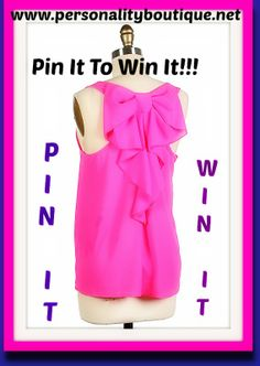 Lets kick off spring with a giveaway, because lets face it we all love Free clothes:) So Pin it to Win it. Winner will be chosen Friday May 9th. In the meantime check out our site. www.personalityboutique.net