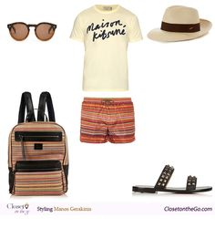 Fashionable Summer Explorer featuring a pair of Missoni zigzag swim shorts, a Maison Kitsune t-shirt, and a pair of Christian Louboutin flat sandals. Summer Shorts Outfits, Short Outfits, Swim Shorts, Christian Louboutin, Explore, Blog, Closet, Shirts, Men