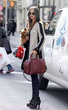 Puppy in one arm, fabulous bag in the other. #streetstyle