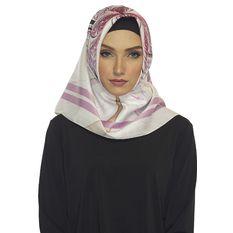 Hijabstore - Jilbab Angel Lelga Original Scarf 153 - Putih Motif Ungu