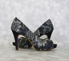 Wedding Shoes --Navy Peep Toe Platform Wedding Shoes with Lace Overlay - CHOOSE YOUR COLOR