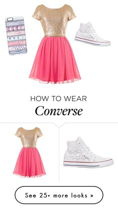 """Dress and converse"" by jjjunebug2 on Polyvore featuring Casetify and Converse"