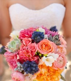I like the mint, coral, and blue flowers as a brides bouquet