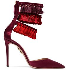 Aquazzura + Claudia Schiffer Loulou's tasseled satin pumps (£590) ❤ liked on Polyvore featuring shoes, pumps, heels, zapatos, high heel shoes, burgundy shoes, high heel pumps, embellished pumps and high heeled footwear