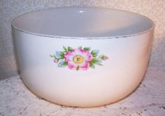 "Vintage Hall Mixing Bowl Morning Rose #858 White Larg 9"" Cottage Country Prairie"