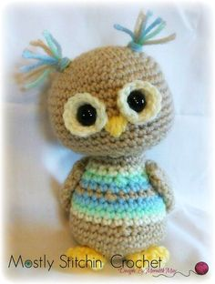 Scrappy Owls are fun to make and a great way to use up those scraps of yarn! They can be made in any color combination or in solid colors! They