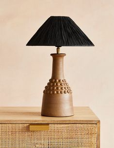 Tan Bobbled Terracotta Table Lamp with Black Raffia Shade Boho Lighting, Interior Lighting, Pendant Lighting, Scandinavian Lamps, Surface Table, Home Accessories Stores, Shade Roses, Lamp Bases, Light Table