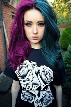 Purple and Teal Hair. Once I was going into a store when I saw a girl with Neon green and bright green hair just like this but it was shorter than hers.