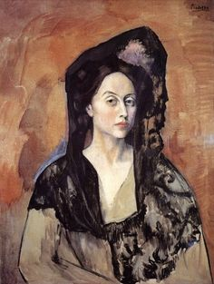 """Portrait of Madame Canals"".Artist: Pablo Picasso Completion Date: 1905 Style: Post-Impressionism Period: Rose Period Genre: portrait Technique: oil Material: canvas Dimensions: x cm Gallery: Museu Picasso, Barcelona, Spain. Expo Picasso, Kunst Picasso, Art Picasso, Picasso Blue, Picasso Paintings, Picasso Images, Spanish Painters, Spanish Artists, Henri Matisse"