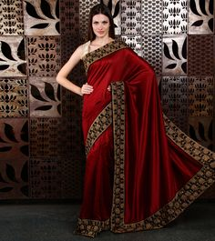 Red Embroidered Chanderi Saree