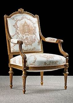 Pair of French Antique Louis XVI style Giltwood Armchairs