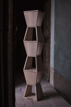 CAPRICE.07 solid oak handcraft bookcase. brancusi inspired  Italian selfproduction design