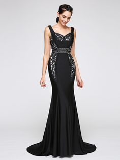 TS Couture® Formal Evening Dress Trumpet / Mermaid Straps Court Train Jersey with Lace - USD $129.99