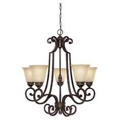Perfect for illuminating your entryway or dining room, this elegant chandelier showcases a 5-light design in brown.  Product: Ch...