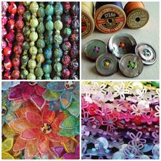 Liberty print fabric necklaces, vintage button brooches, button bracelets, flower brooches