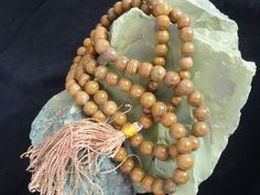 Camel Agate Necklace Agate Beads 8mm 108 Round Beads Natural Rosary Necklace Jap