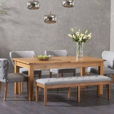 Verona Solid Oak Dining Table with Claudia Fabric Chairs and Camille Grey Fabric Bench Dining Set With Bench, Grey Dining Tables, Solid Oak Dining Table, Kitchen Table Bench, Dining Table Design, Oak Table, Extendable Dining Table, Bench Table And Chairs, Dining Room