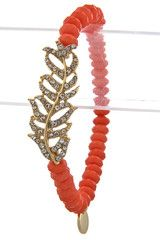 Crystal Feather Coral Bracelet