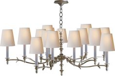 Visual Comfort Thomas OBrien Large Chandler Chandelier in Burnished Silver Leaf and Natural Paper Shades Drum Shade Chandelier, Chandelier Ceiling Lights, Ceiling Lamp, Circa Lighting, Lighting Sale, Pendant Lighting, Beach House Lighting, Electrical Fixtures, Visual Comfort Lighting