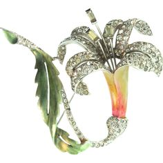 One of Marcel Boucher's MASTERPIECE Figurals from the Metallic Flower Series, a Lily or Fuchsia Flower Brooch…Yellow, Orange and Green metallic