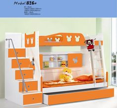 Cute Orange and White Themes with Double Deck Bunk Bed Designs for Small Kids Bedroom Furniture Double Deck Bed for Kids Bedroom Furniture Designs Ideas Kids Double Bed, Double Deck Bed, Double Bunk, Bunk Bed Steps, Bunk Beds With Stairs, Childrens Bunk Beds, Kids Bunk Beds, Loft Beds, Childrens Bedroom