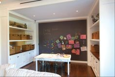 An entire wall of blackboard? Magnetic, too? How cool is that? (Dusty, though.)