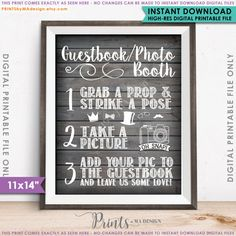 Guestbook Photobooth Sign Add photo to the door PRINTSbyMAdesign