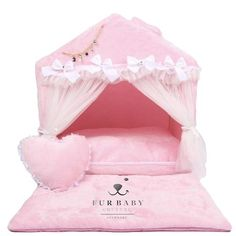This beautiful Princess Retreat house features a delicate airy bed for your pet. They will love relaxing on the soft minky fur made with hypoallergenic filling. The bed comes with a pillow and blanket, pawfect for snuggles and beauty sleep! Girl Dog Beds, Cute Dog Beds, Puppy Beds, Diy Dog Bed, Dog Beds For Small Dogs, Girl And Dog, Luxury Pet Beds, Teepee Bed, Puppy Room