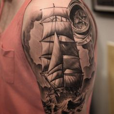Amazing artist @nickmatic_tattoos awesome sailing ship compass arm tattoo! @art_spotlight ...